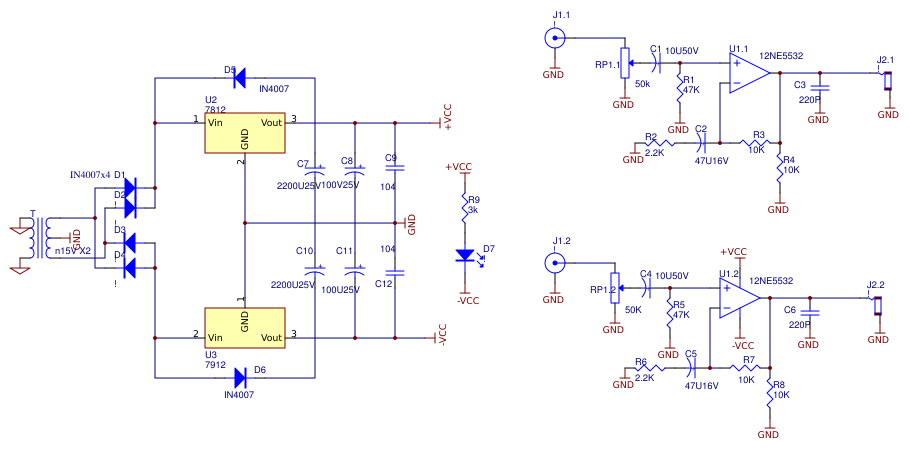 NE5532 Based Headphone Amplifier Schematic v 2 Resources - EasyEDA