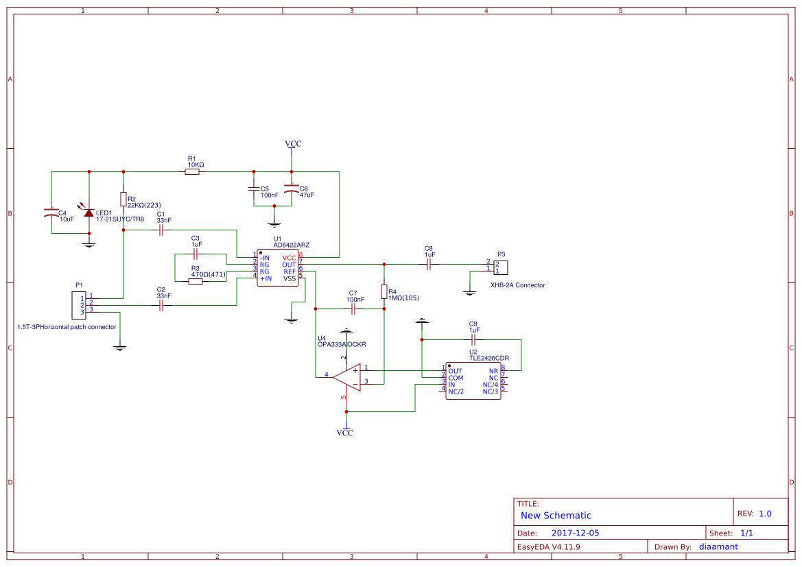 Ad8220 Instrumentation Amplifier Easyeda Circuit Diagram
