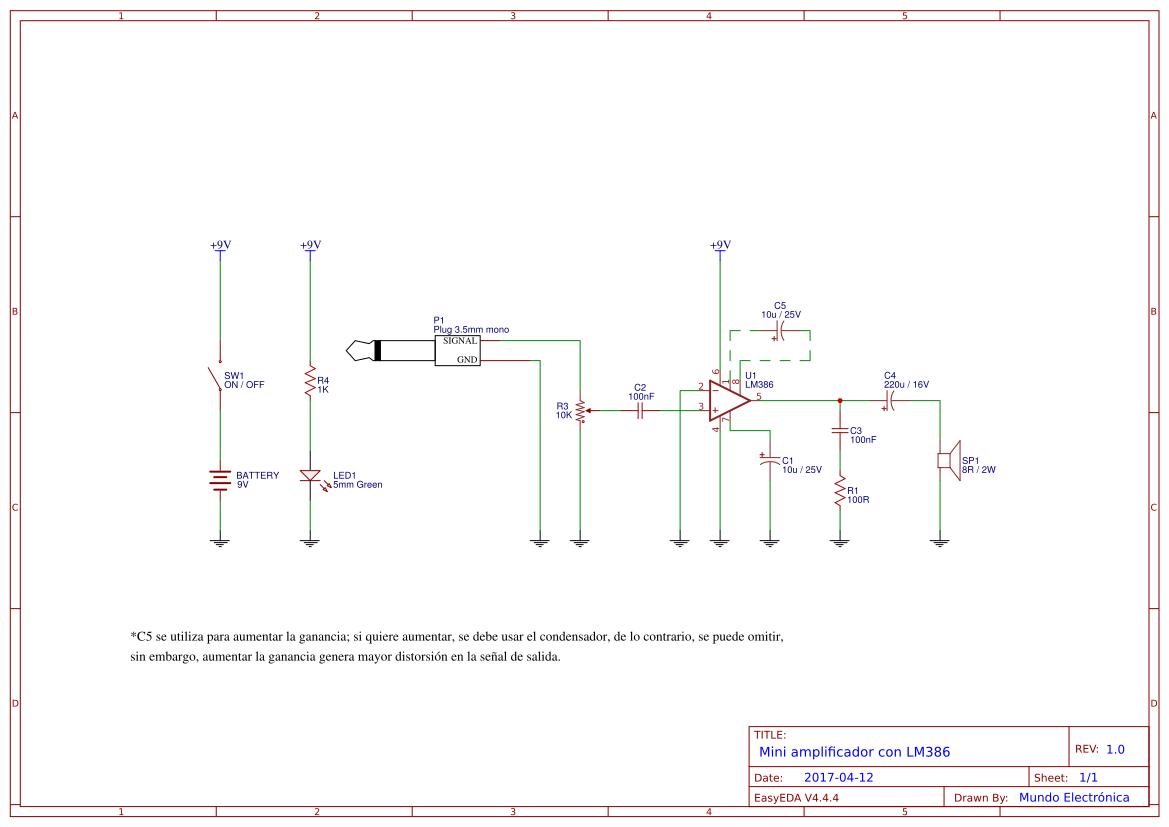 Explore Easyeda Astable Oscillator Circuit For The Ne555n Ic This Si Basic Mini Amplificador Con Lm386 Copy