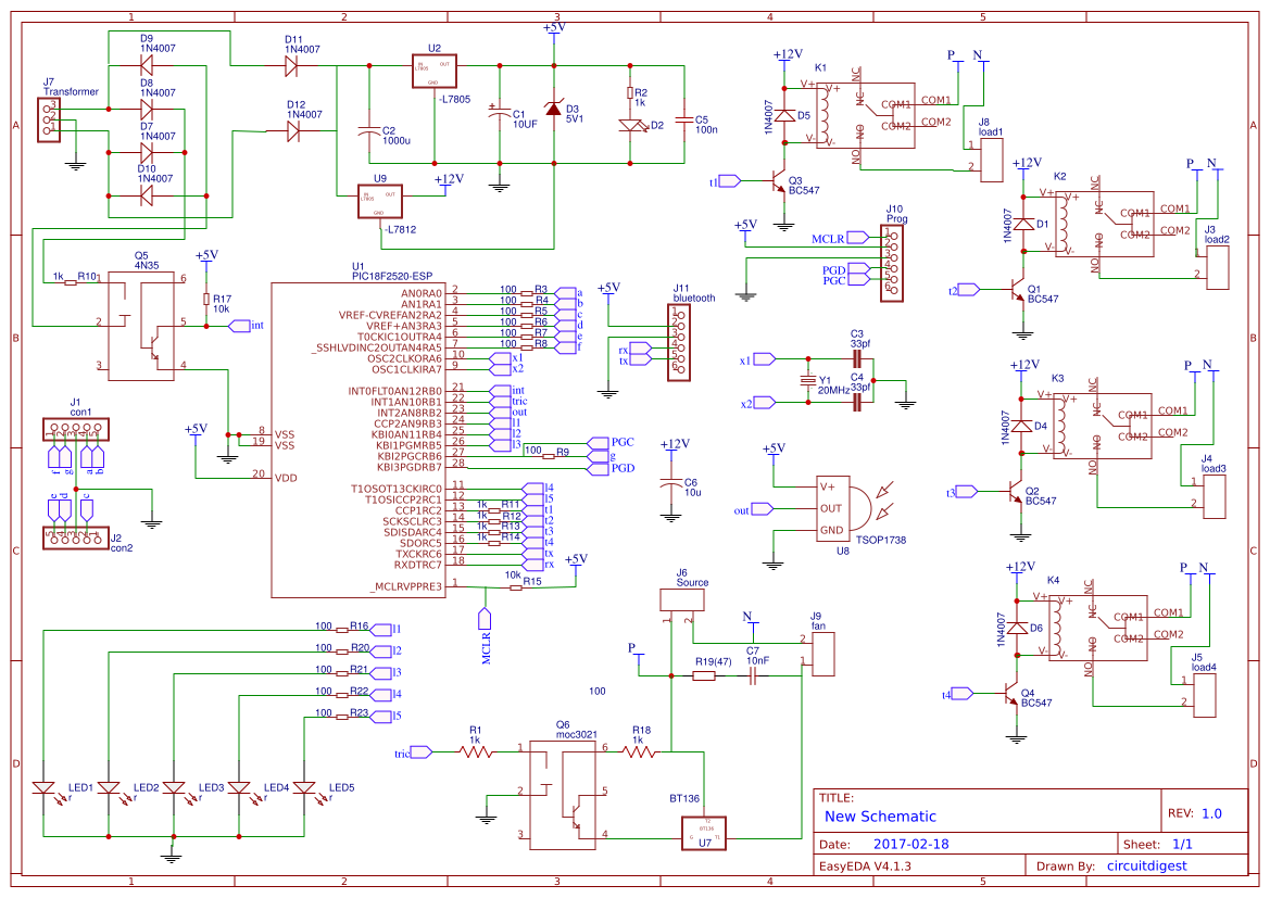 Pic Based Ir Remote Controlled Home Automation Easyeda Control Circuit Diagram Copy