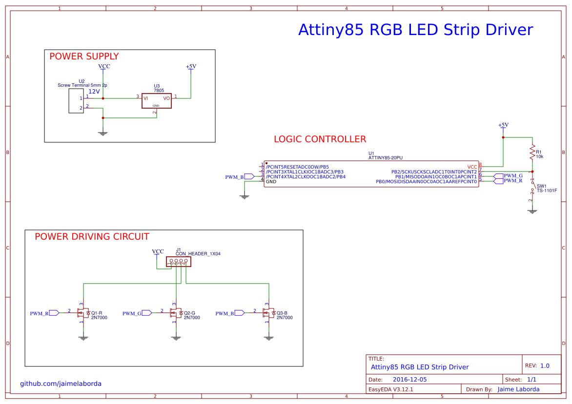 Attiny RGB LED Strip Driver - EasyEDA