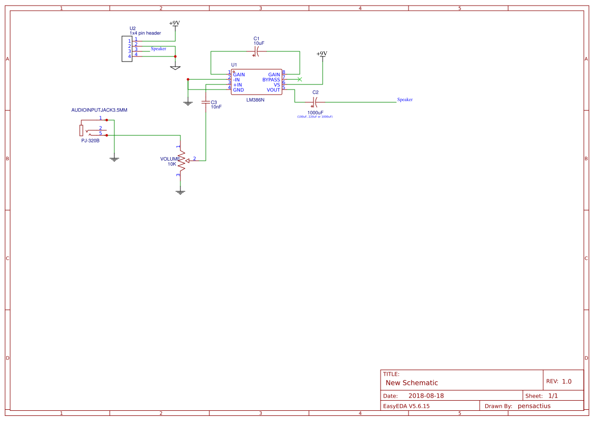 Lm386 Audio Amplifier Circuit Search Easyeda With Pcb