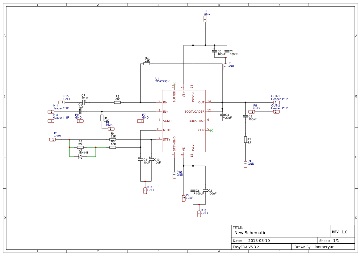 Audio Amplifier Tda Search Easyeda Tda7293 Stereo Power N 7293 100w