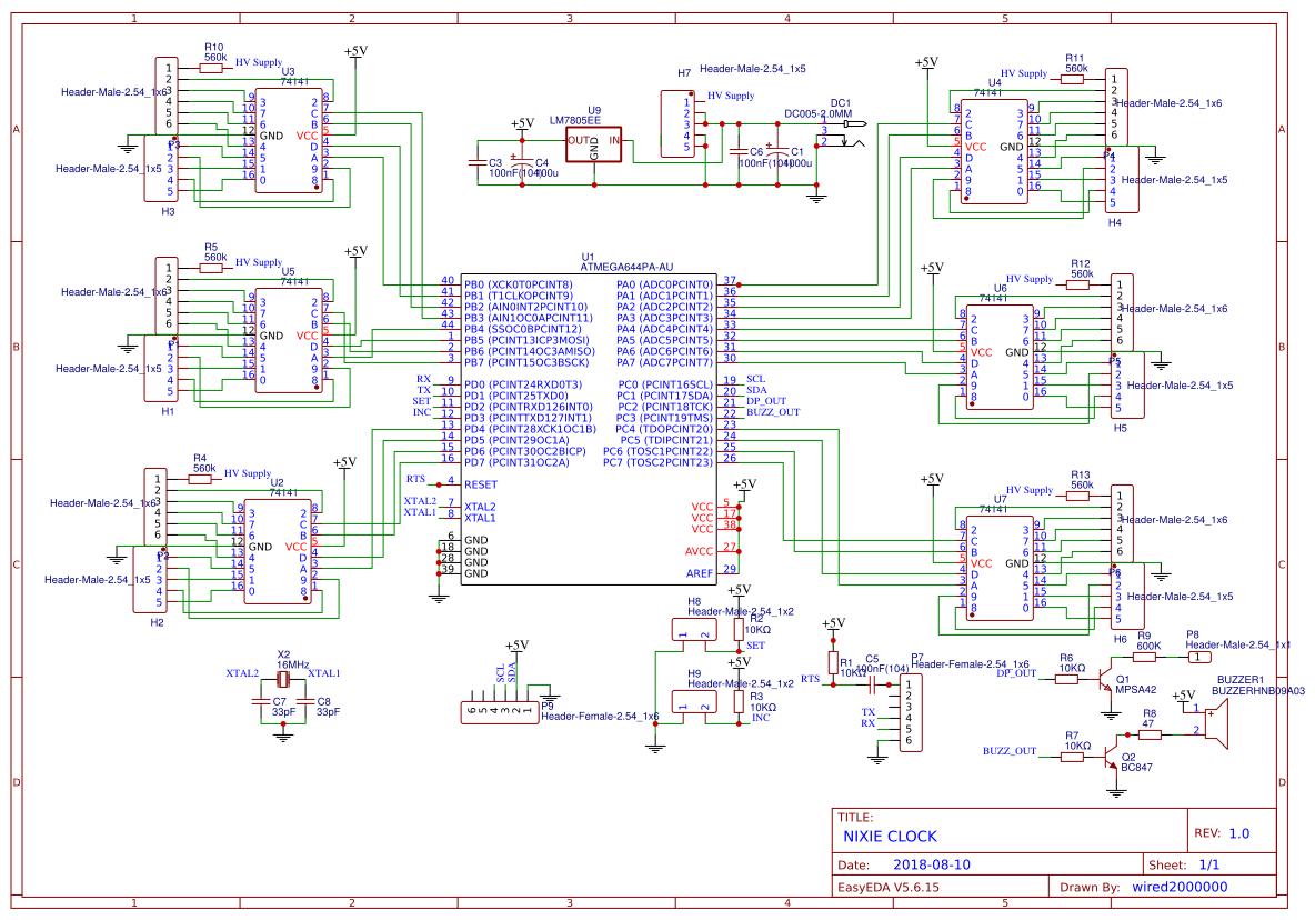 Nixie Clock Search Easyeda Circuit Diagrams