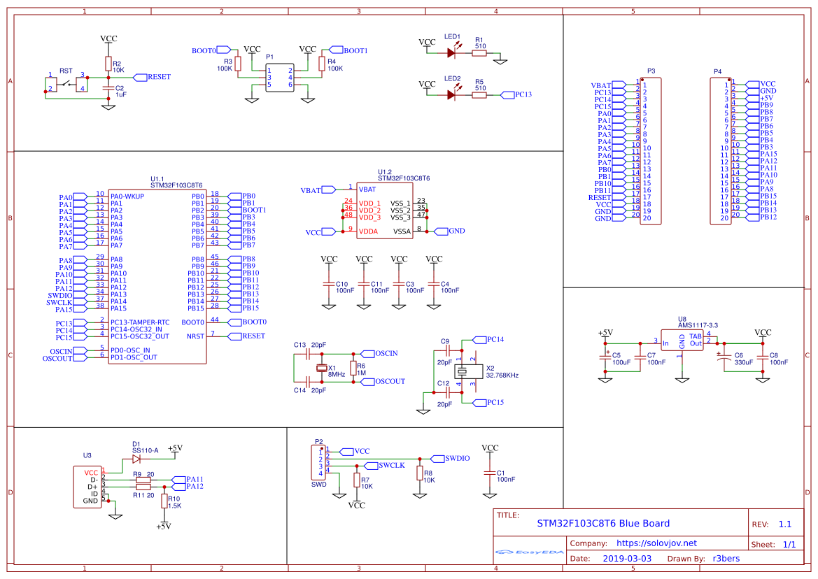 STM32F103 «Blue Pill» modified board - EasyEDA