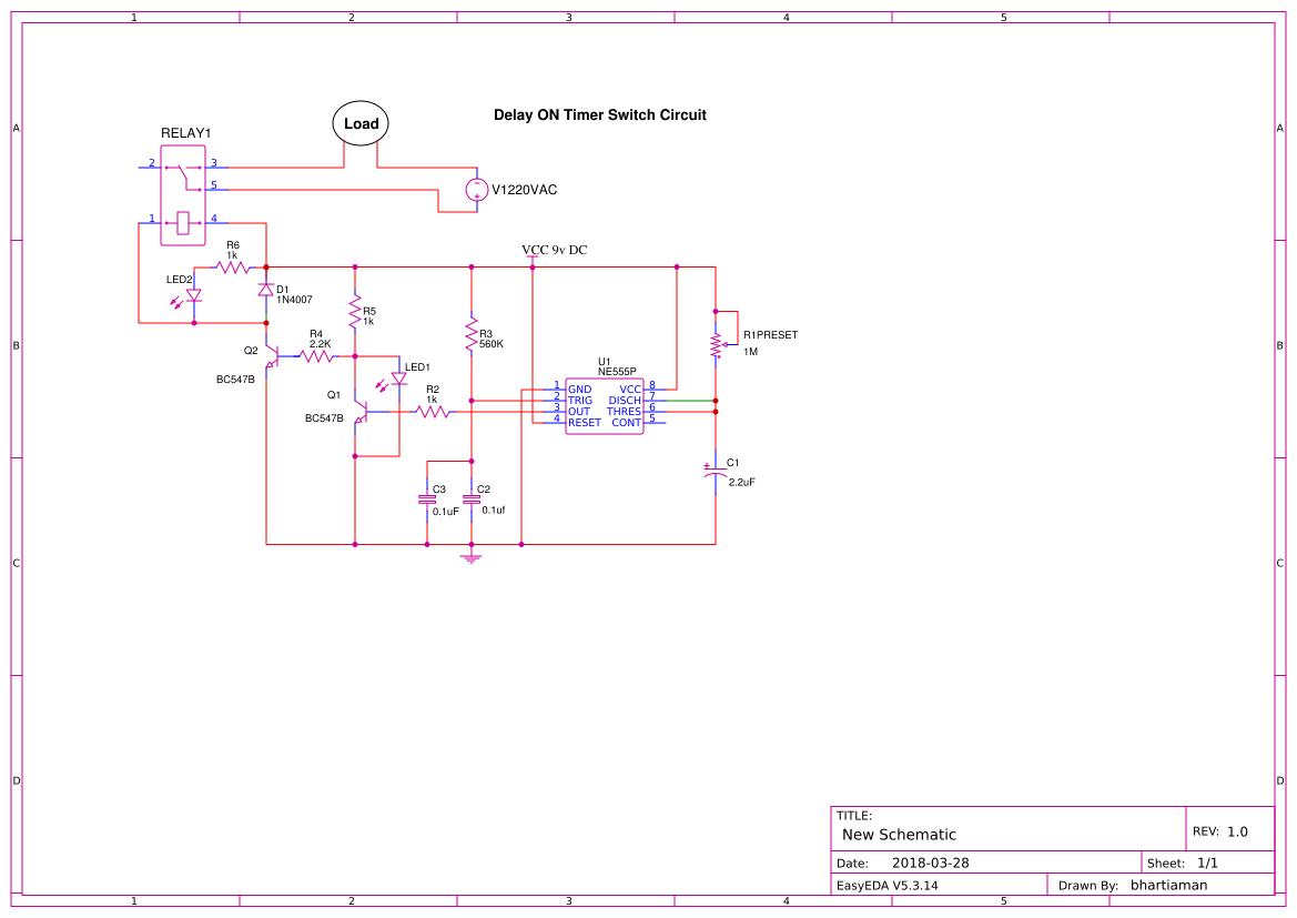 Bhartiaman Easyeda Digital Long Time Delay Circuit Amplifiercircuit Diagram