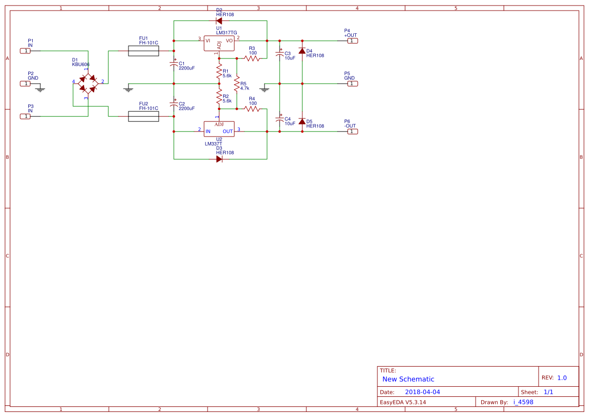 Lm317 Lm337 Search Easyeda Power Supply Using Lm 317 Electronic Circuits And Diagram Ac Dc