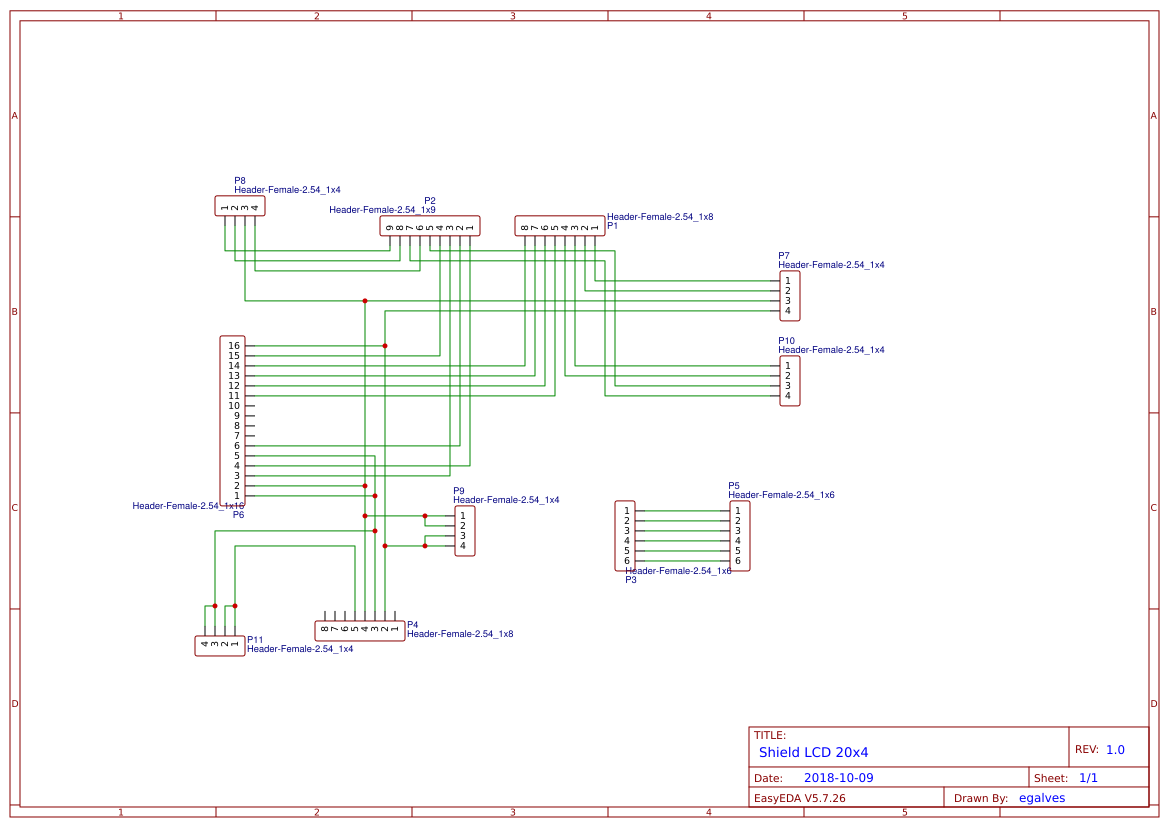 Arduino Shield LCD 20x4 - EasyEDA