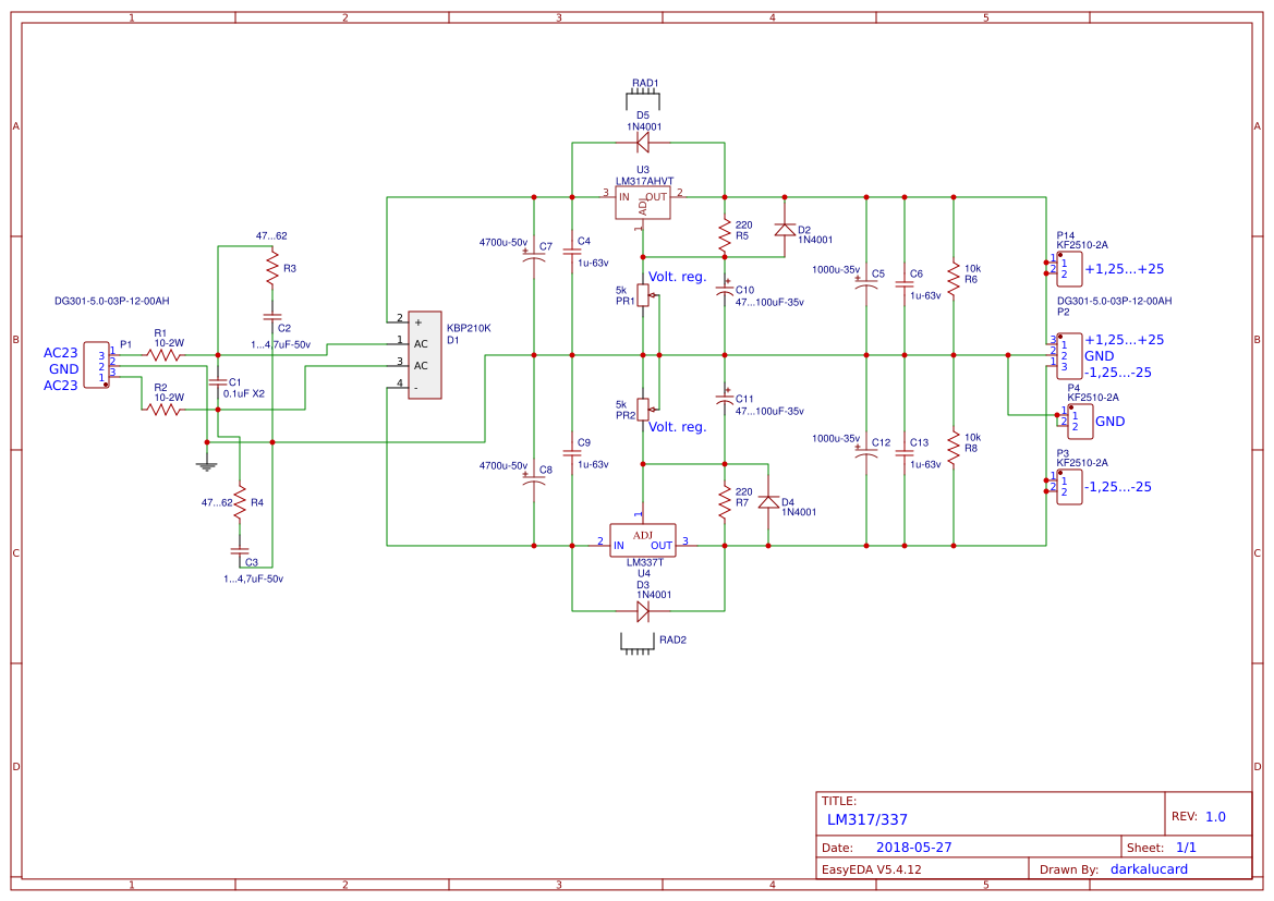 Lm317 337 Easyeda Power Supply Using Lm 317 Lm337 Electronic Circuits And Diagram Open In Editor