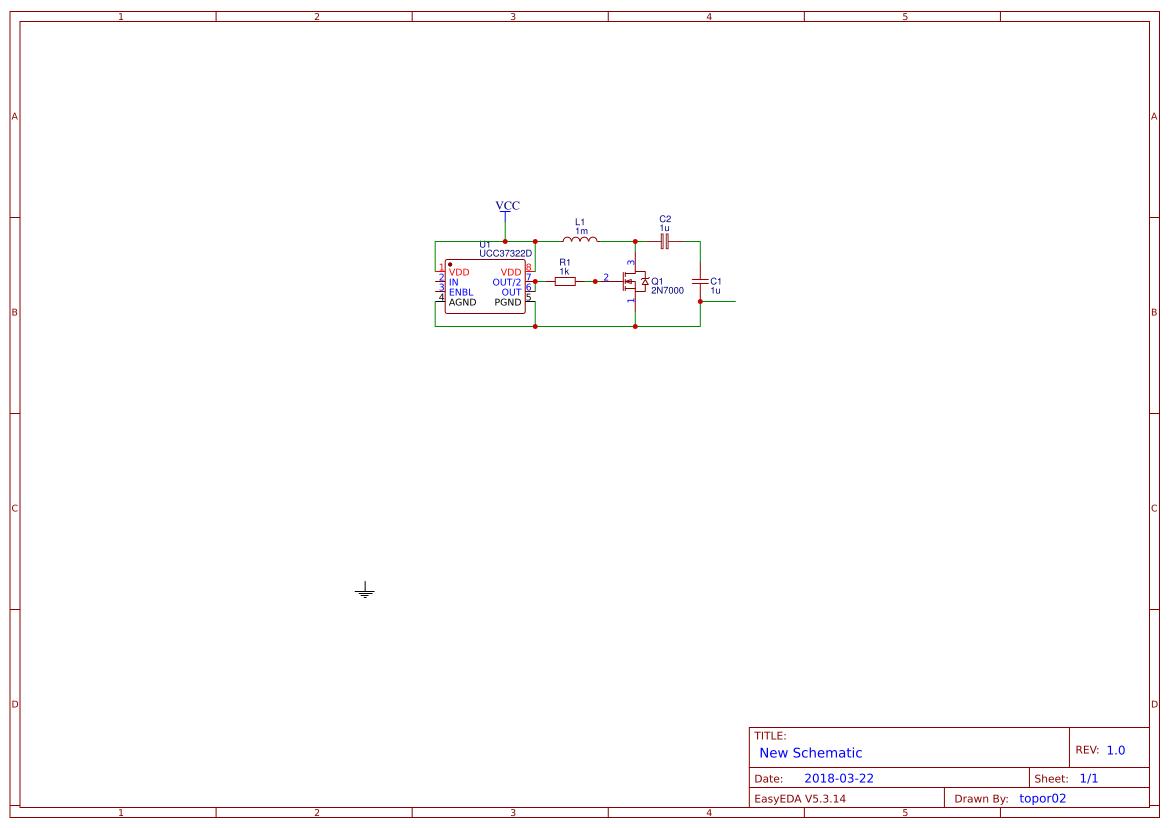 One transistor tesla coil - EasyEDA