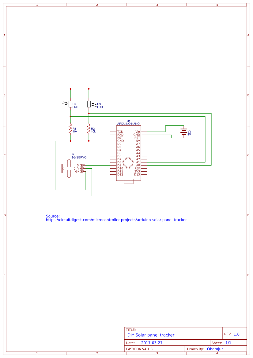 Explore Easyeda Arduino Solar Tracker Circuit Schematic On Controller Panel
