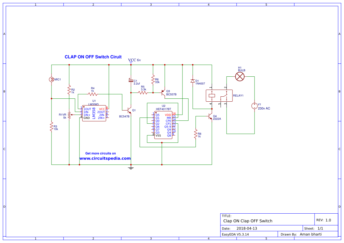 Clap On Off Switch Easyeda Ic 4017 Circuits And Projects 16