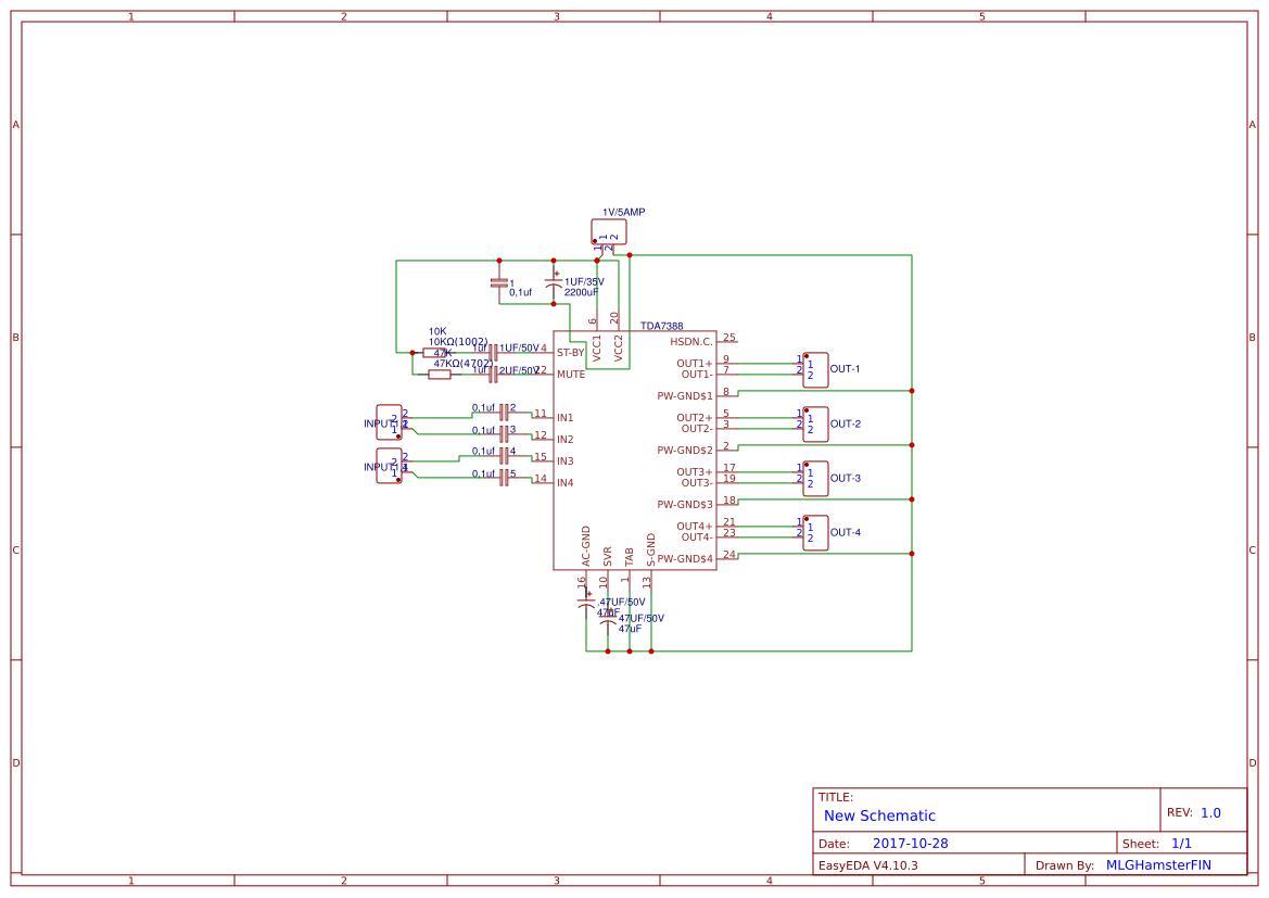 Tda7388 Amplifier Circuit Pcb Easyeda Schematic Main