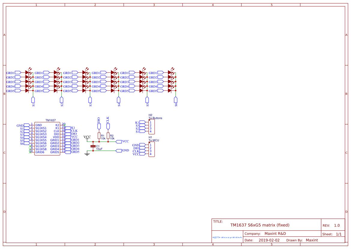 TM1637 S6xG5 LED matrix - EasyEDA