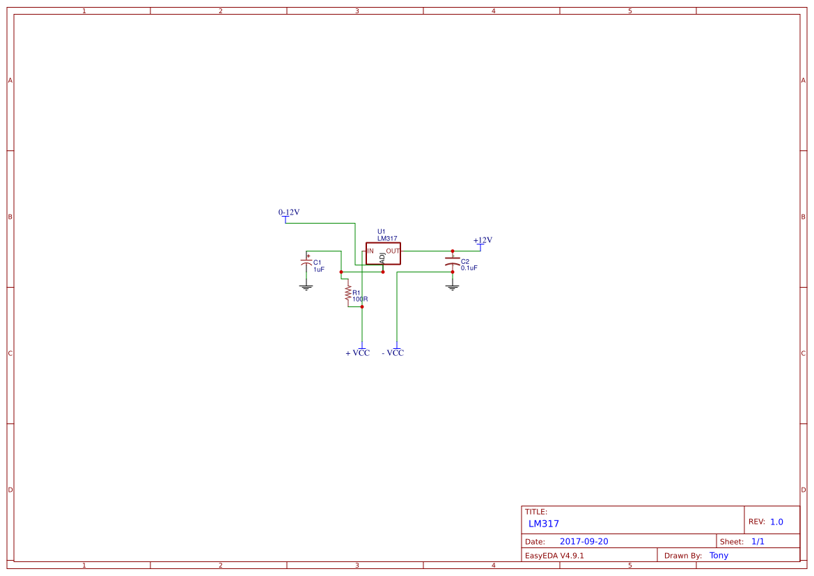 Lm317 Project Search Easyeda Power Supply Using Lm 317 Lm337 Electronic Circuits And Diagram
