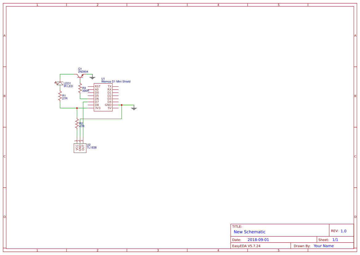 Wemos D1 Mini IR Sender/Receiver - EasyEDA