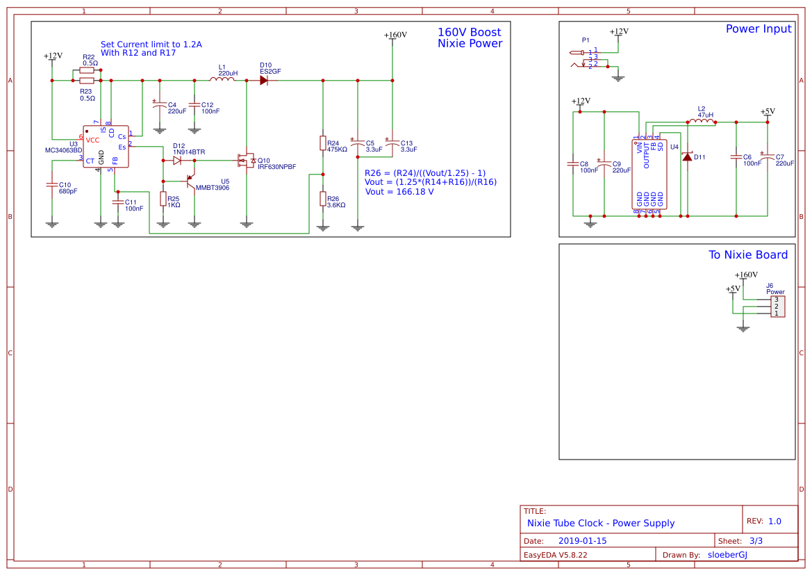 on nixie tube clock schematic