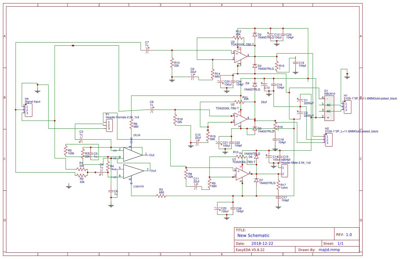Tda2030 Bridge Amplifier Circuit Diagram - PCB Circuits