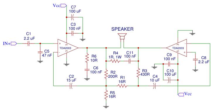 Tda2003 Bridged Amplifier Easyeda