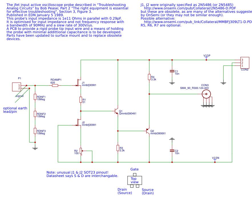 Bob Pease\'s High Impedance Active Scope Probe (PCB Design) - EasyEDA