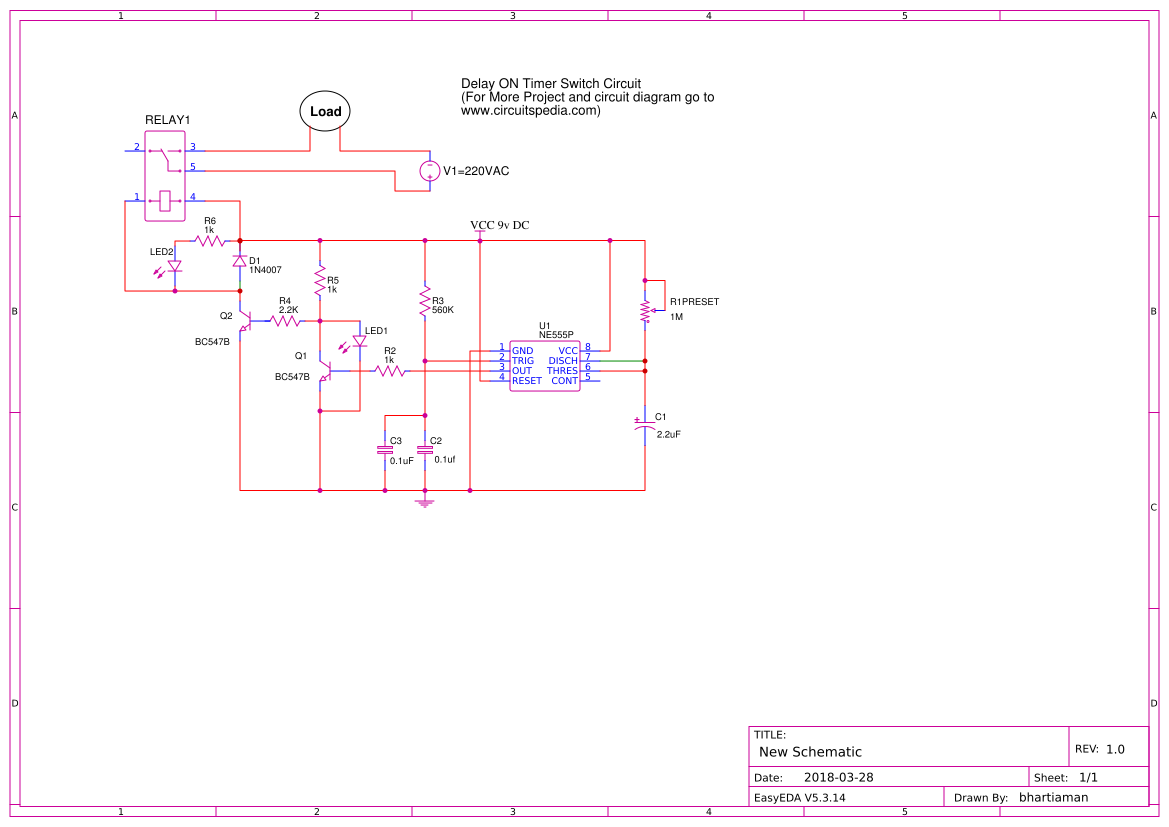 Delay ON Timer Switch Circuit   EasyEDA