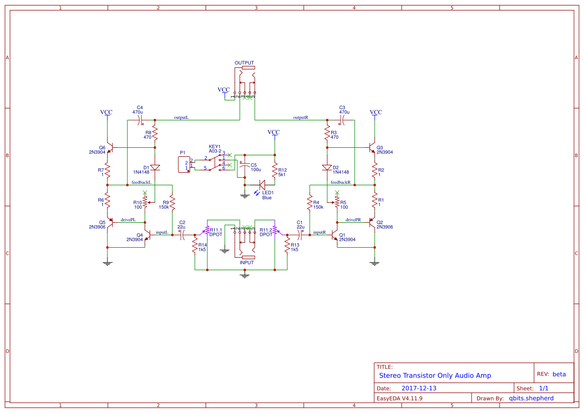 Stereo Transistor Only Amplifier Easyeda Simple Audio Preamplifier Circuit Using Single 2n3904
