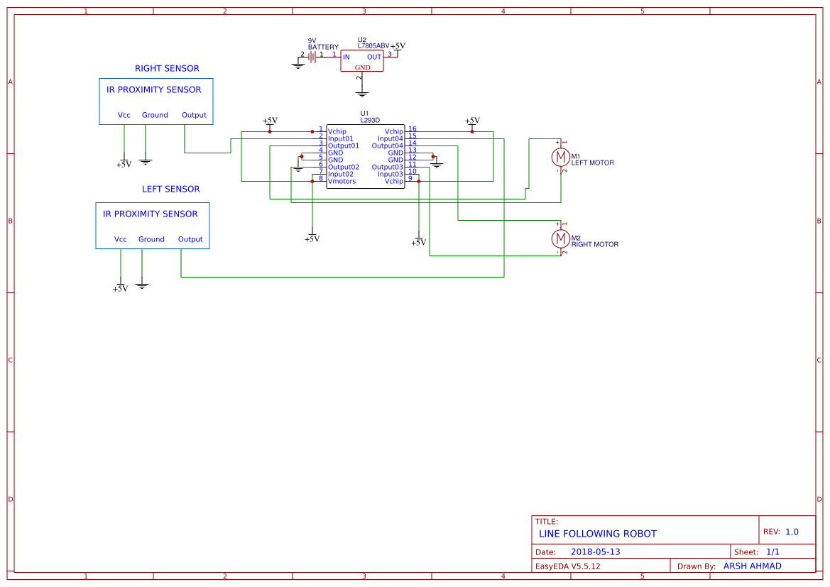 Line Follower Robot Search Easyeda Schematic Following