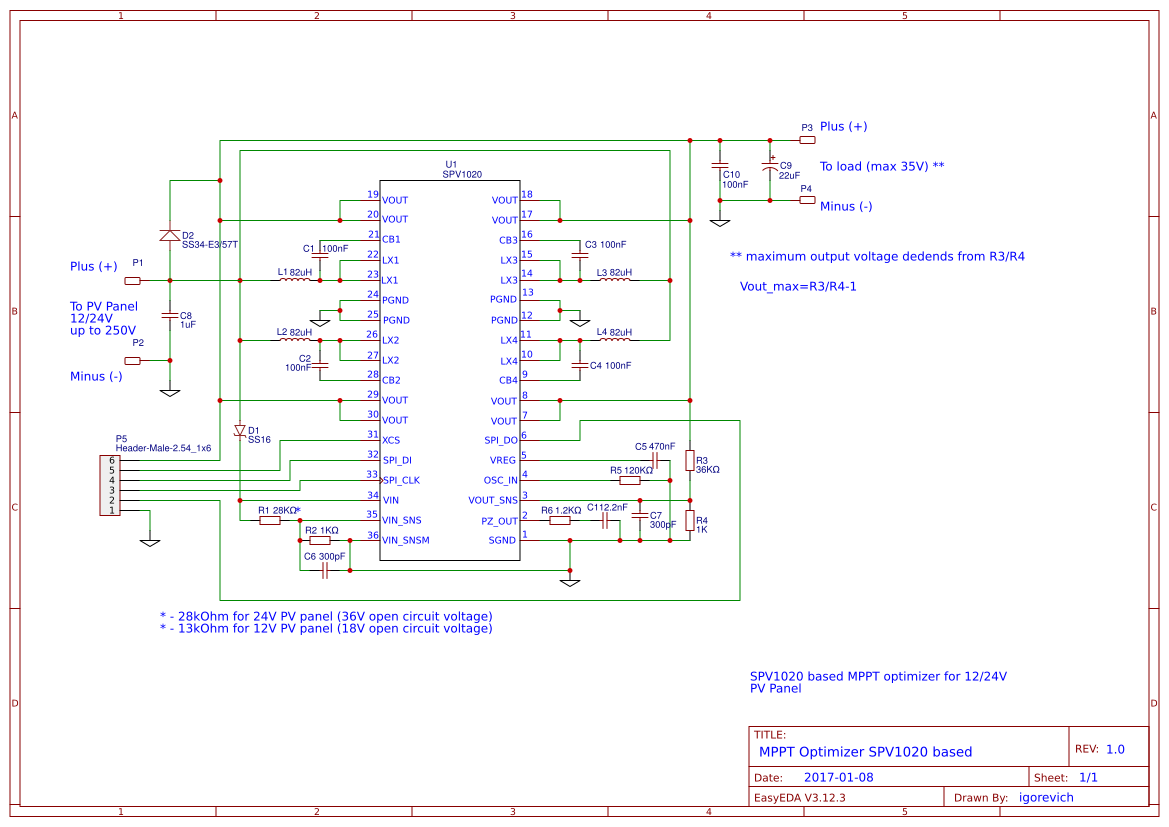 Mppt Optimizer With Spi Data Out Easyeda Circuit Diagram Based On Spv1020