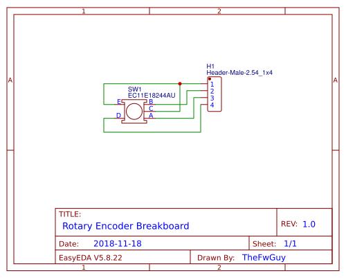 Rotary encoder breakboard - EasyEDA