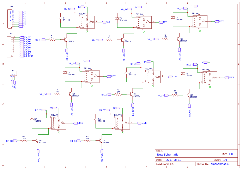 Relay Board Custom Easyeda Diagram 8