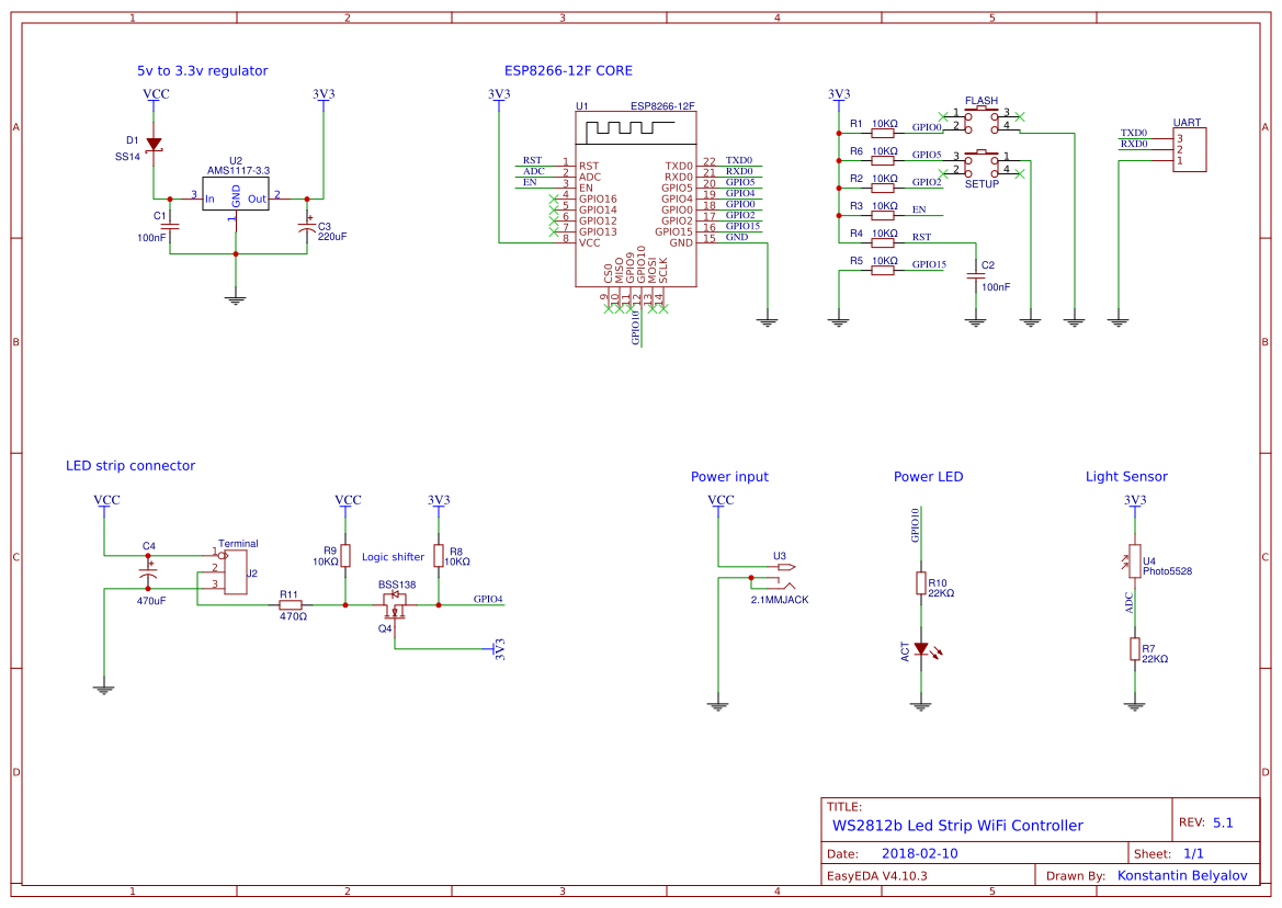 Neopixel LED strip controller - EasyEDA