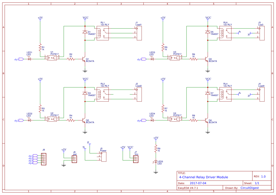 4 Channel Relay Driver Module Copy Easyeda