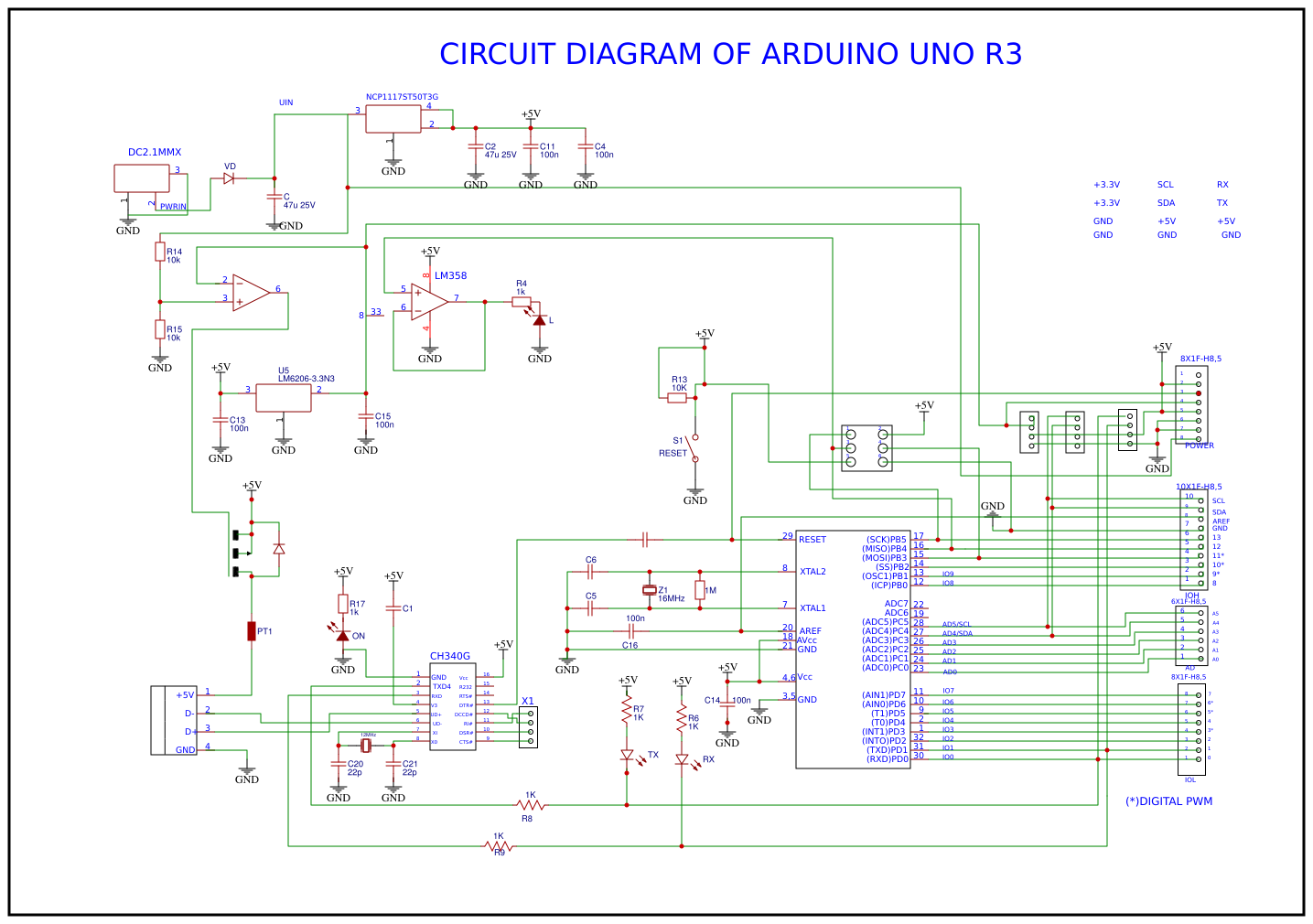 BASIC CIRCUIT DIAGRAM OF ARDUINO UNO R3 - EasyEDA