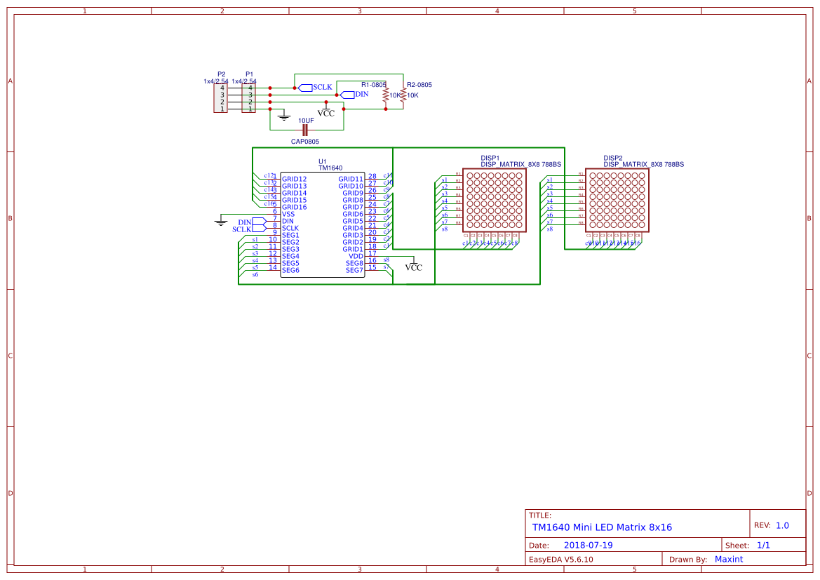 TM1640 Mini LED matrix module - EasyEDA