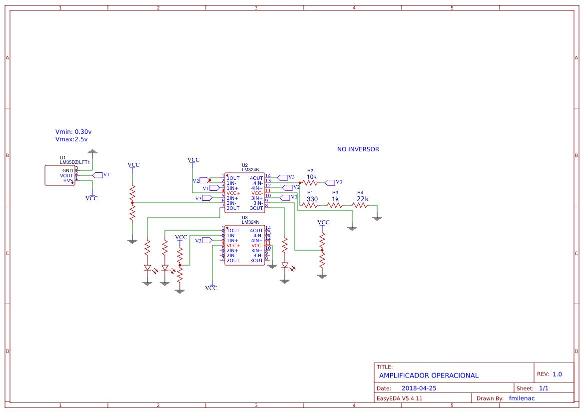 Fmilenac Easyeda Lm324n Circuit Sensor De Temperatura Amplificador Operacional No Inversor