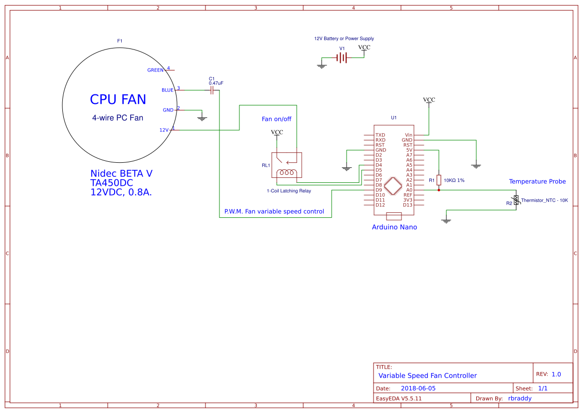 Temperature Based Variable Speed Fan Controller Easyeda On Off Latching Relay Circuit Sheet 1