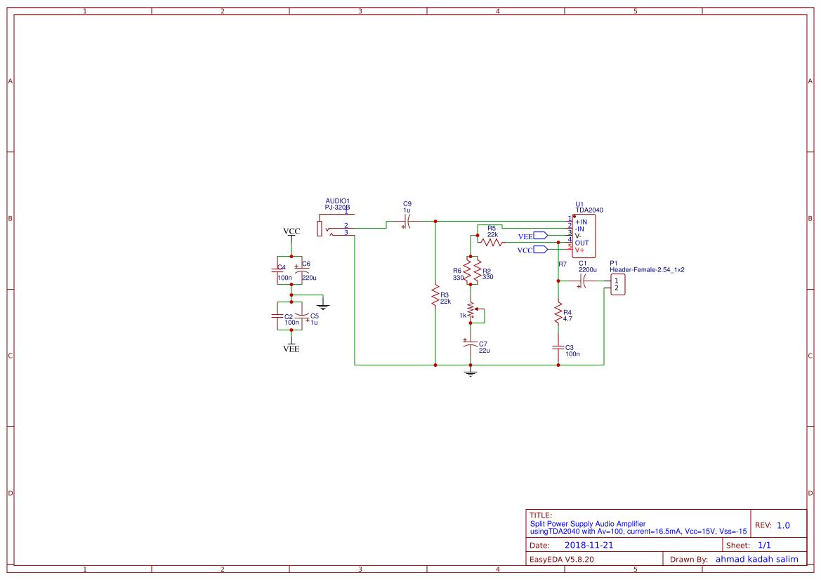 Audio Amplifier Circuit Search Easyeda Using Tda2040 Electronic Circuits And Usingtda2040