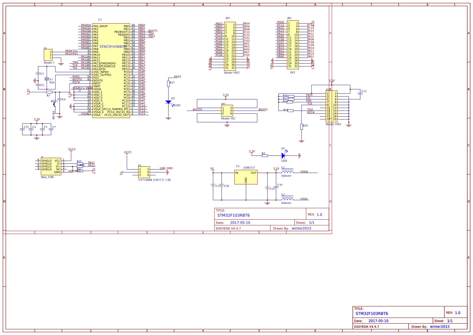 STM32F103 Minimum System Board - EasyEDA